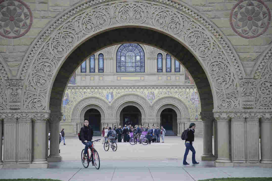 Students walk on campus at Stanford University in California.