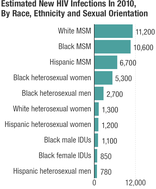 """""""MSM"""" stands for """"men who have sex with men."""" """"IDUs"""" refers to injection drug users. """"White"""" is defined as """"white, non-Hispanic"""" and """"black"""" is defined as """"black, non-Hispanic."""" Source: U.S. Department of Health and Human Services, 2016."""