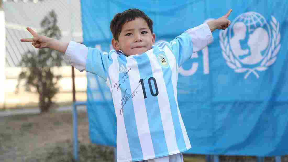 "Murtaza Ahmadi, 5, is the proud new owner of a genuine Lionel Messi jersey. Earlier this year, a photo of the boy wearing a ""Messi"" jersey made from a plastic bag went viral."