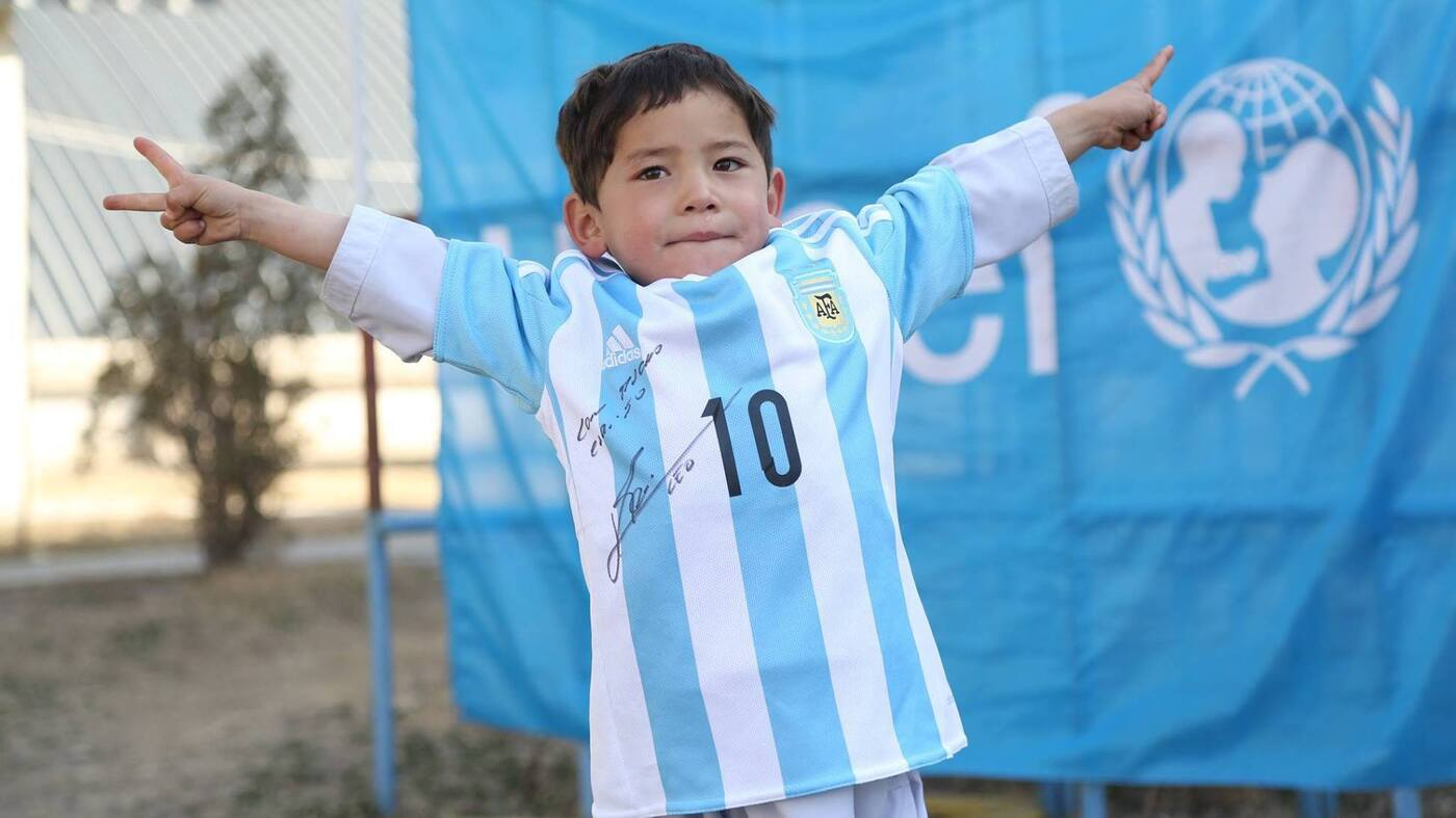 Score Afghan Boy With Homemade Lionel Messi Jersey Just Got A Real One The Two Way Npr