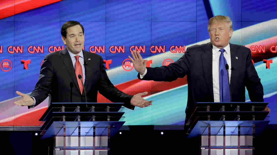 Marco Rubio (left) and Donald Trump on stage at Thursday's GOP debate.