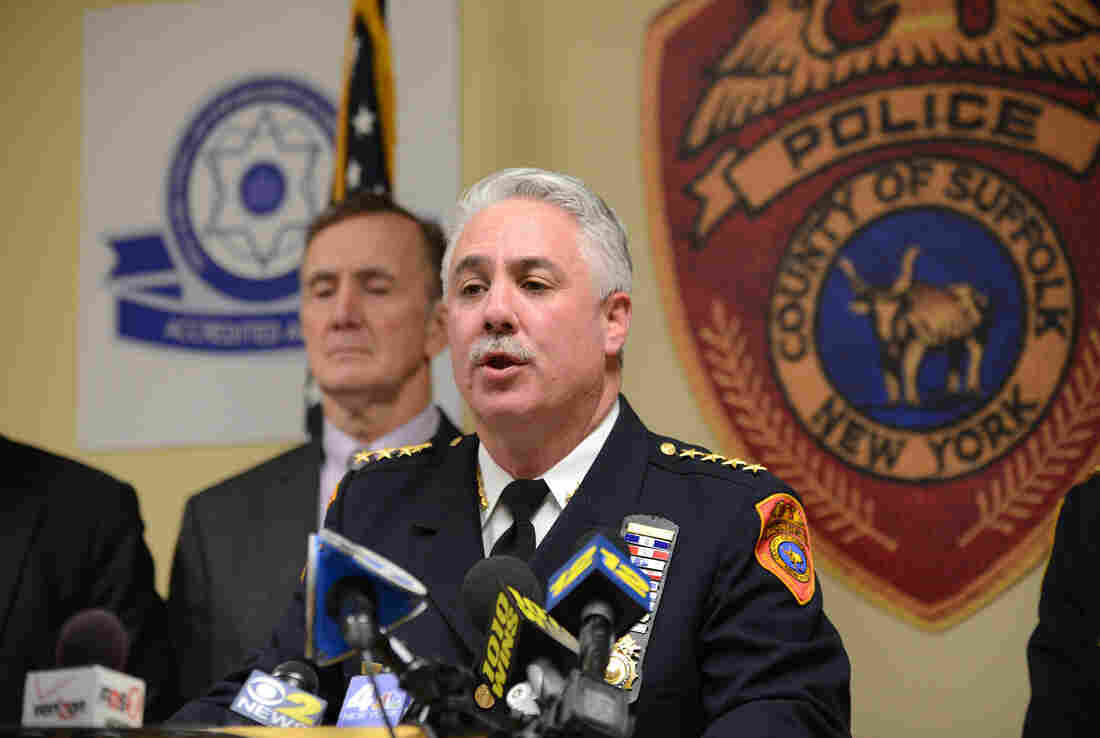 Suffolk County Chief James Burke speaks at a press conference held to announce the details of a officer-involved shooting in Bay Shore, Long Island on March 23, 2015.