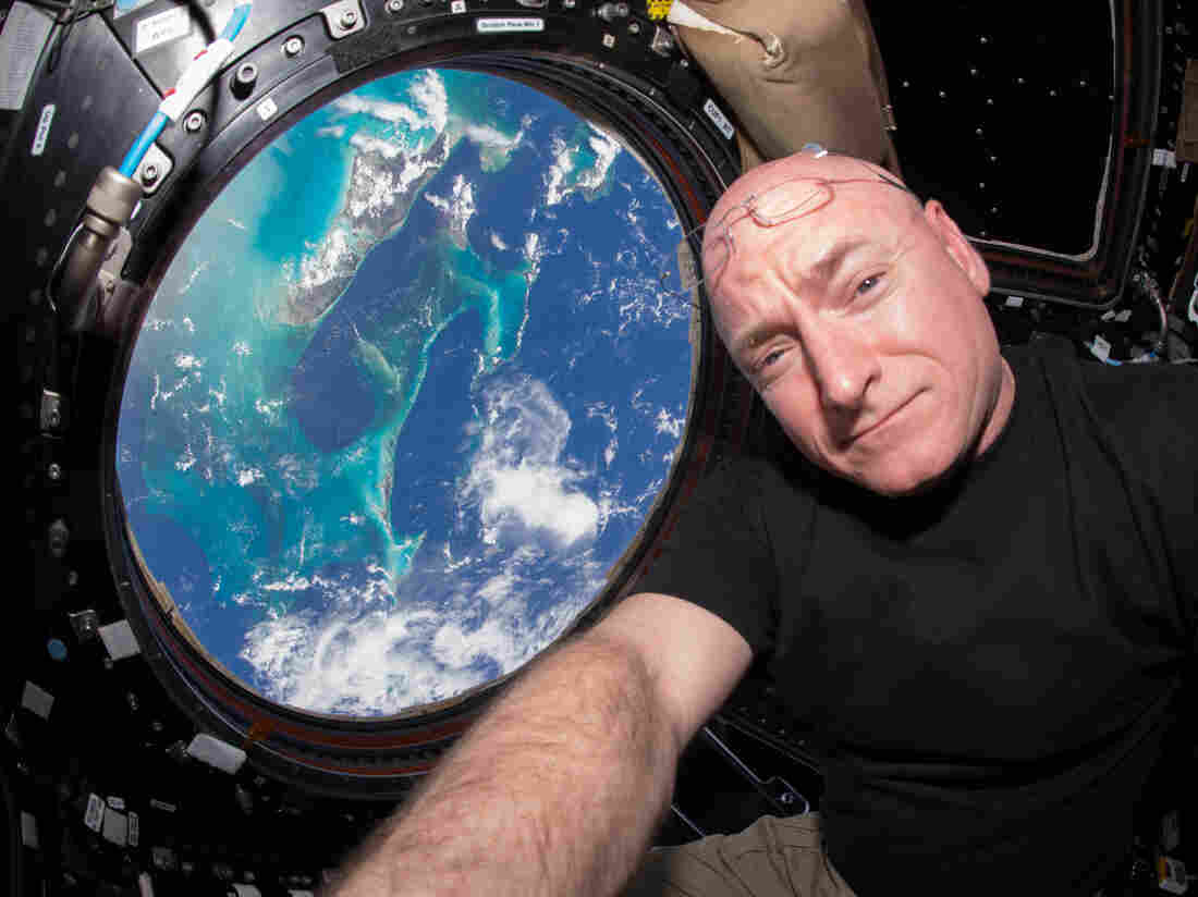 NASA astronaut Scott Kelly takes a selfie inside the cupola, a special module that provides a 360-degree view of Earth. Kelly and Russian cosmonaut Mikhail Kornienko have spent nearly a year aboard the International Space Station.