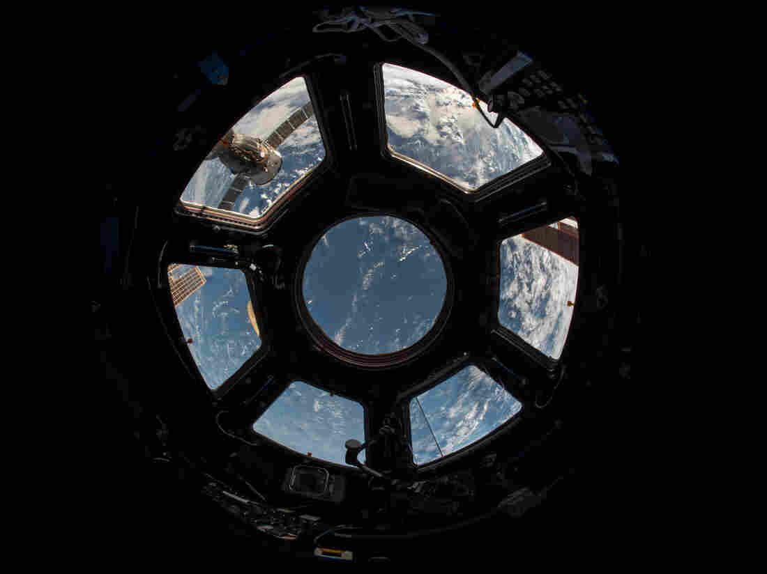 The windows of the cupola are used for scientific observations and for steering the station's robotic arm.