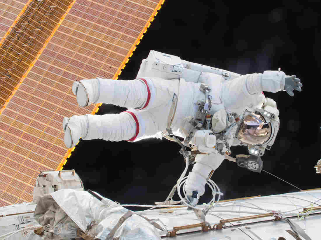 On Dec. 21, Kelly and fellow astronaut Tim Kopra made an unscheduled spacewalk to move a robotic transporter that had become stalled on the side of the station.