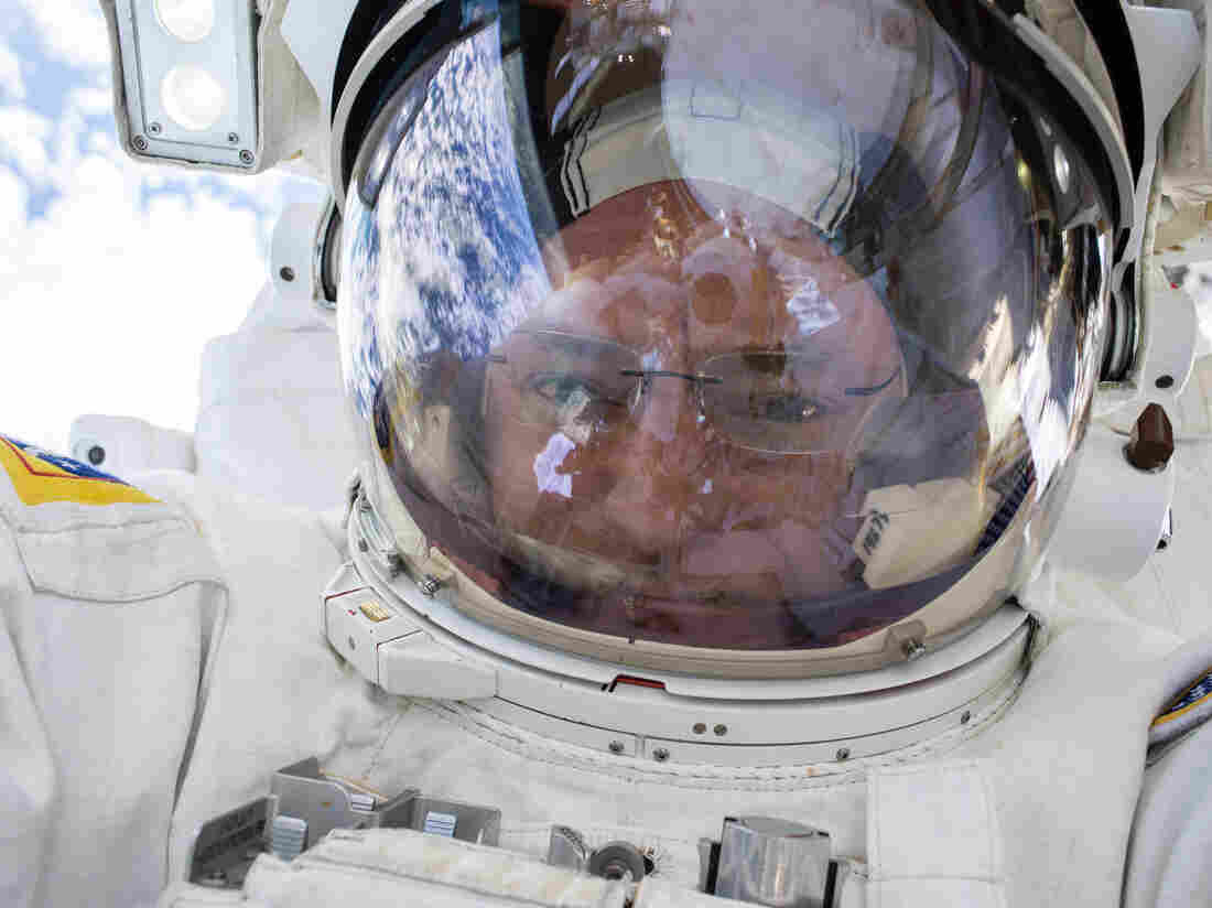 Kelly snaps a quick selfie during a spacewalk on Dec. 21.