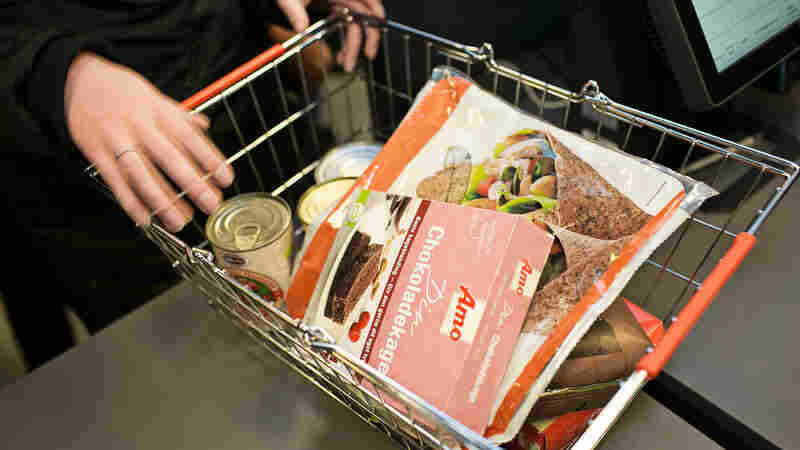 A shopper's cart at WeFood. The supermarket sells items once destined for the trash bin at a discount.