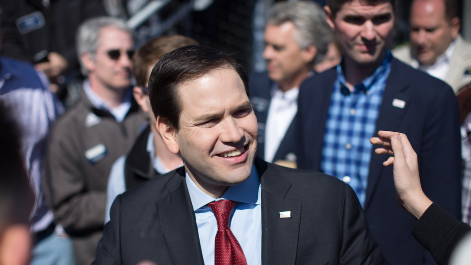 Marco Rubio at a campaign rally in Georgia Saturday. (Branden Camp/Getty Images)