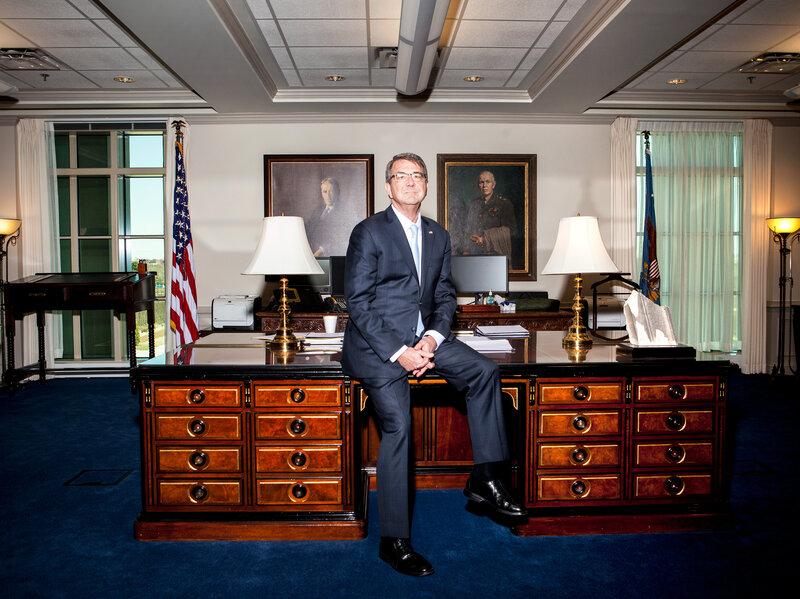 Secretary of Defense Ash Carter in his office at the Pentagon. (Ariel Zambelich/NPR)