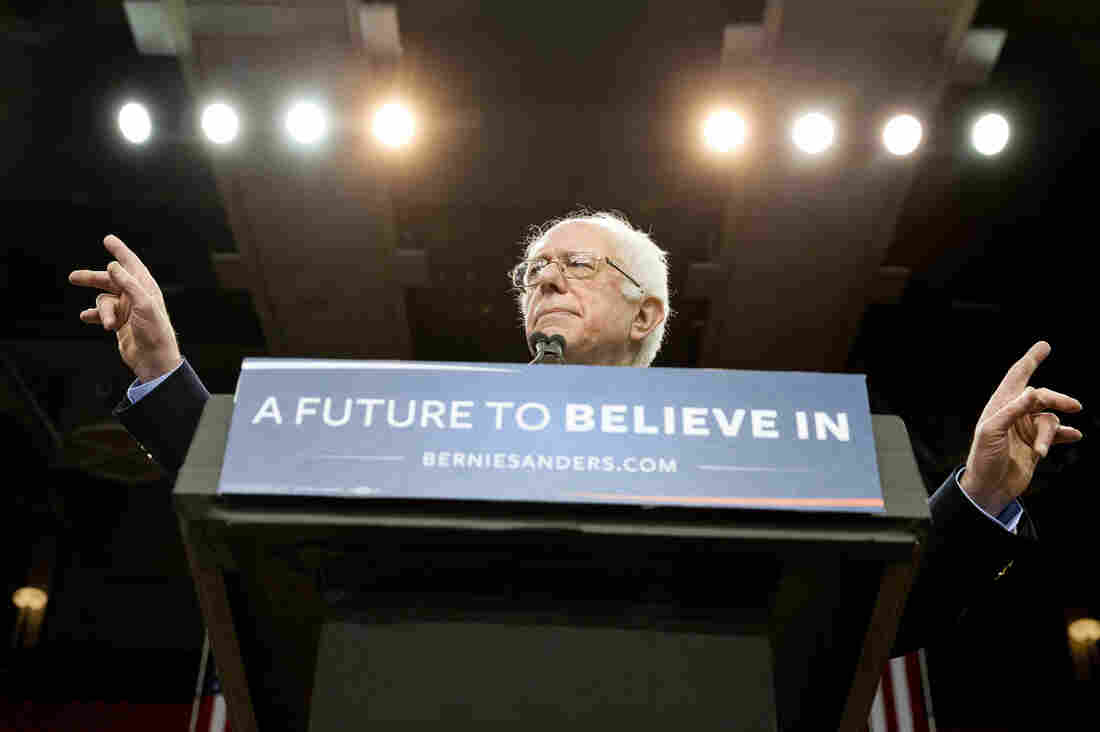 Democratic presidential candidate Sen. Bernie Sanders, I-Vt., speaks during a campaign rally Sunday in Oklahoma City.