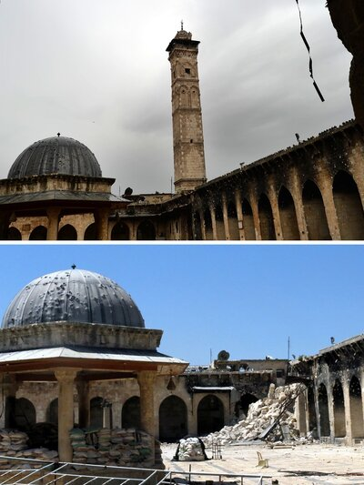 Two pictures show the minaret (top) of Aleppo's ancient Umayyad mosque, a UNESCO World Heritage Site, on April 16, 2013, and the rubble (bottom) after it was blown up on April 24, 2013.
