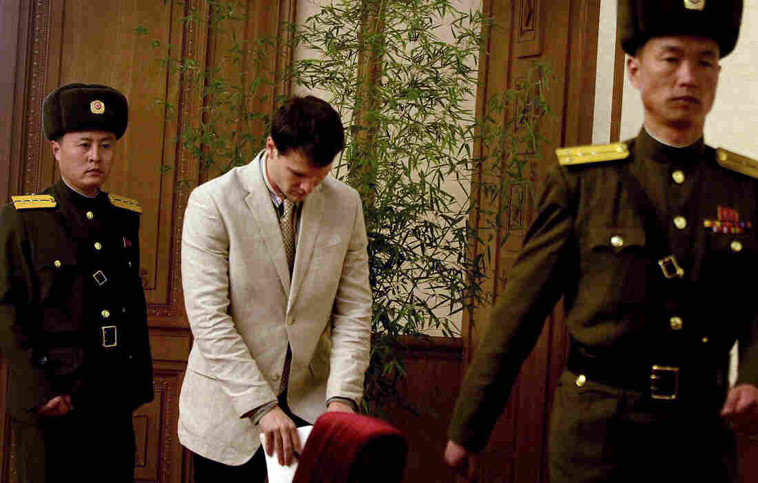Otto Frederick Warmbier, 21, arrives at the People's Cultural House in Pyongyang, North Korea, where he asked forgiveness in front of the media Monday.