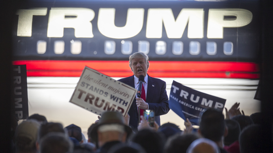 Republican presidential candidate Donald Trump speaks at a campaign rally in an airplane hangar in Bentonville, Ark., on Saturday. (Benjamin Krain/Getty Images)
