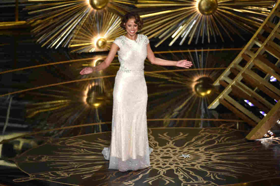 Actress Stacey Dash walks on stage during the Oscars.