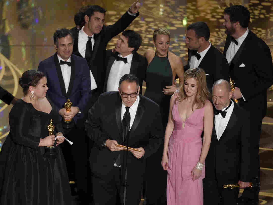 The cast and crew of Spotlight accept the award for best picture at the Oscars on Sunday at Dolby Theatre in Los Angeles.