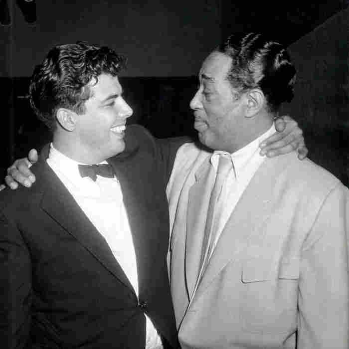Joe Castro and Duke Ellington backstage at Birdland.