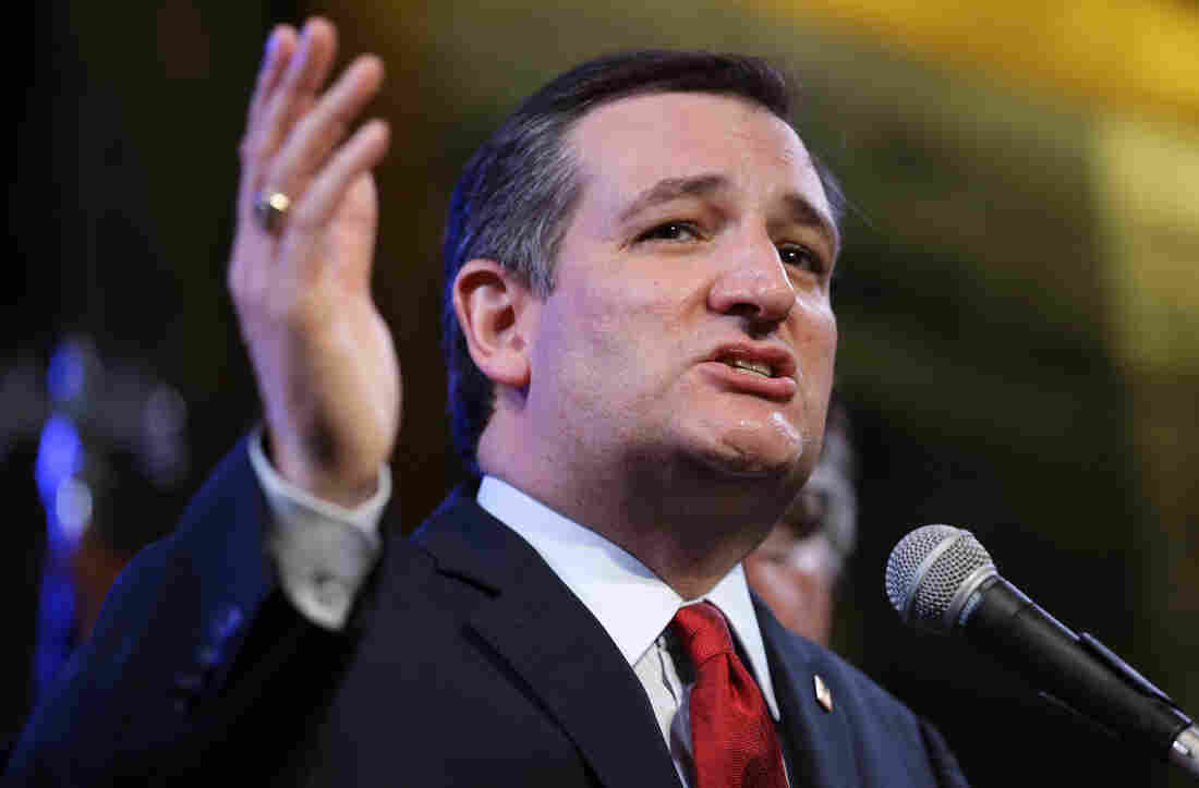 Republican presidential candidate Ted Cruz speaks during an election night watch party in Stafford, Texas.