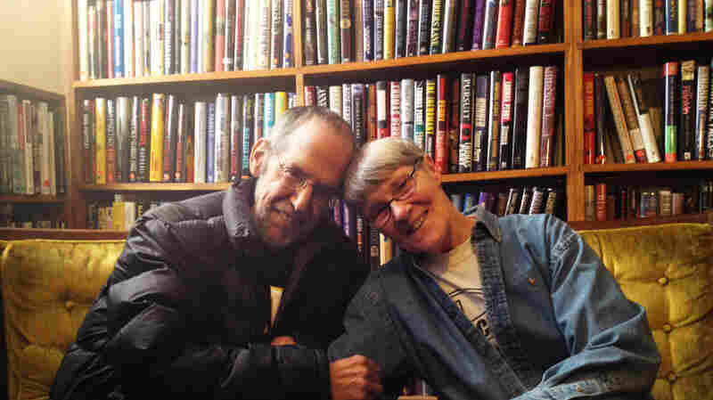 """Gary Shulze, 66, and Pat Frovarp, 75, sit in Once Upon A Crime, the Minneapolis bookstore they ran for 14 years. On when they first met: """"Well, Gary was pretty doggone cute,"""" says Frovarp. """"There's no doubt about it."""""""