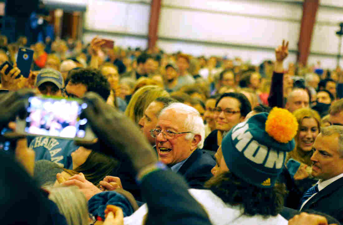 Bernie Sanders greets supporters after a speech in Essex Junction, Vt.