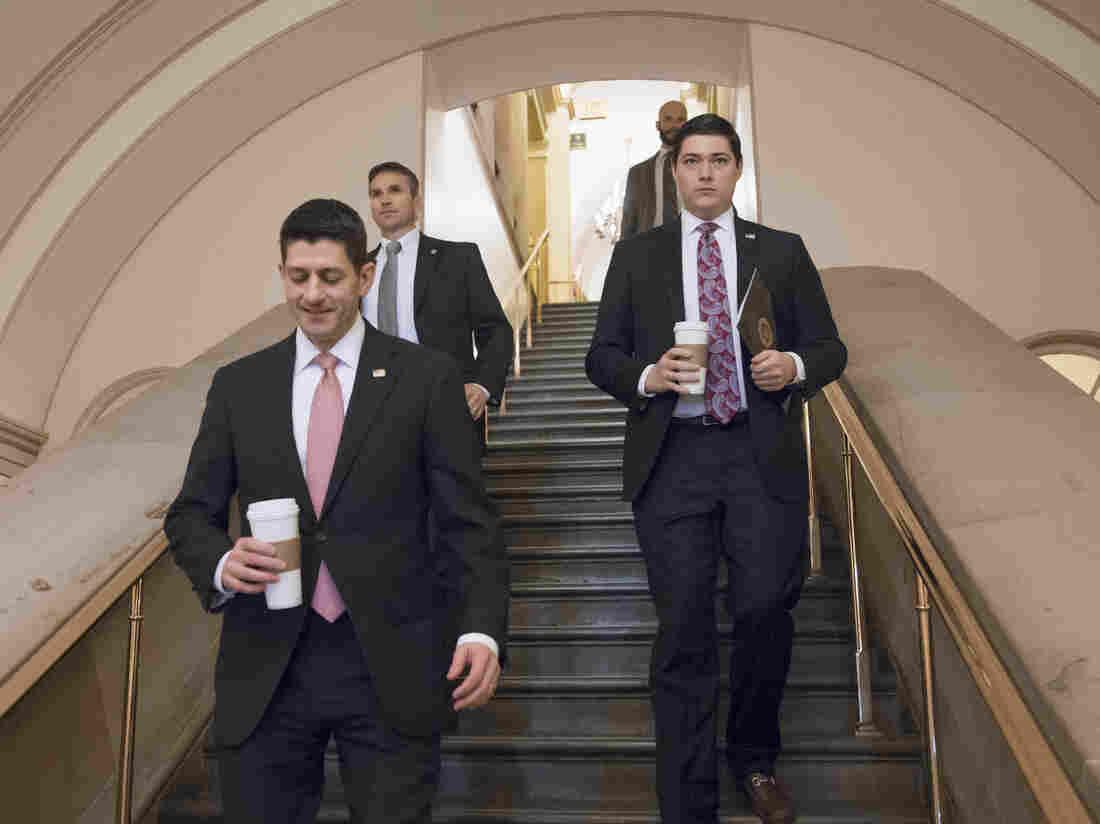 House Speaker Paul Ryan walks through the Capitol