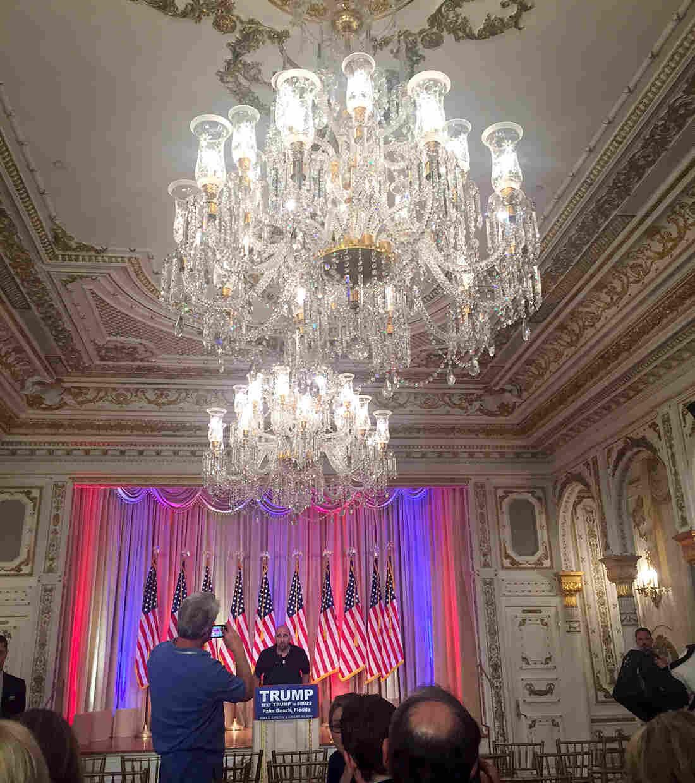 Trump will speak in this room.