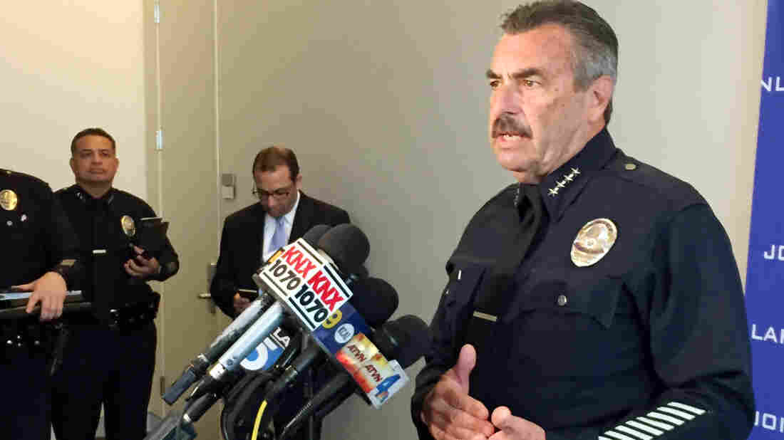Los Angeles Police Chief Charlie Beck speaks as his department releases a broad use-of-force report Tuesday. The report says that when LAPD officers fire at suspects, their targets are disproportionately black or mentally ill.
