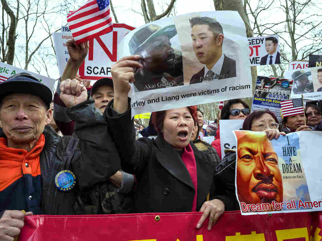 Protesters attend a rally in the Brooklyn borough of New York on Feb. 20 in support of a former NYPD Officer Peter Liang.