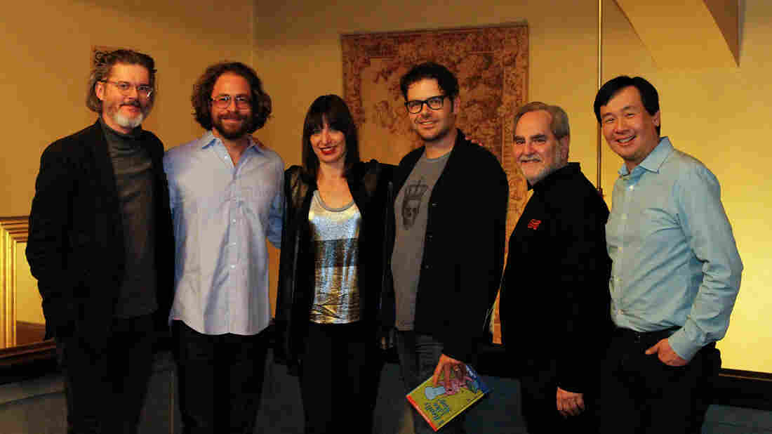 From left to right: Mo Willems, Jonathan Coulton, Ophira Eisenberg, Phil Johnston, Steve Sansweet and Art Chung.