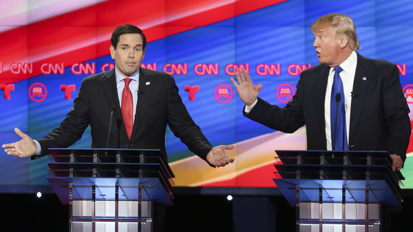 Donald Trump addresses Marco Rubio in one of their many heated exchanges during a debate last week in Houston.