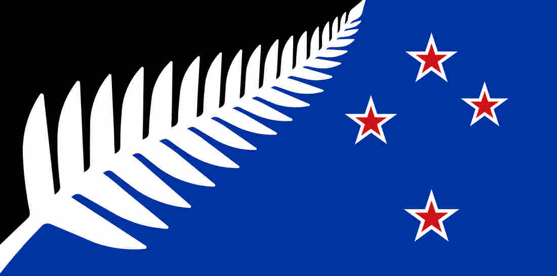 "The proposed alternative design, ""Silver Fern (Black, White and Blue)."""