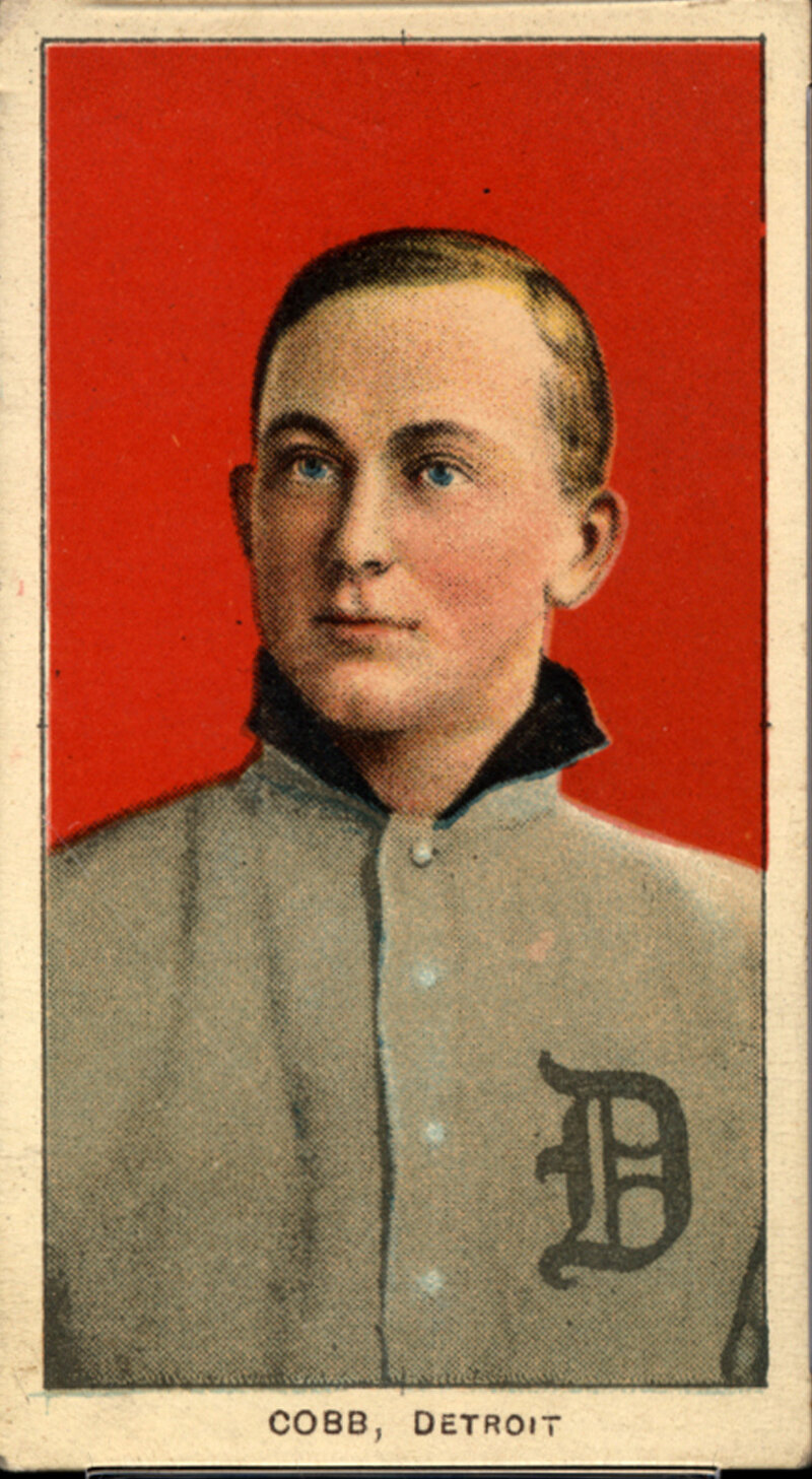 One of seven identical Ty Cobb baseball cards — a baseball card find of a lifetime — that were found in a crumpled paper bag in a dilapidated house.