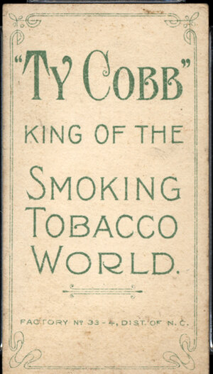 The back of one of the Ty Cobb baseball cards.