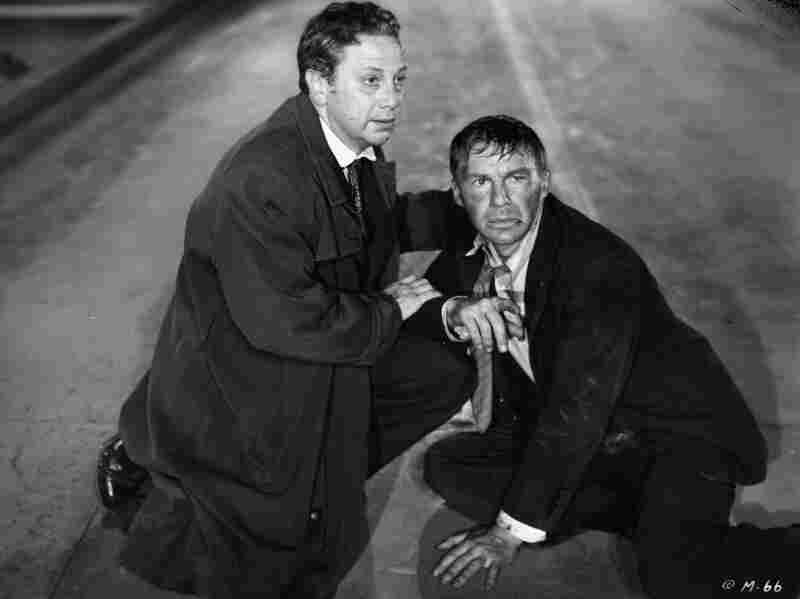 M (1951) was condemned for depicting a child murderer (played by David Wayne, right) and vigilante mob. (Also pictured: Luther Adler)