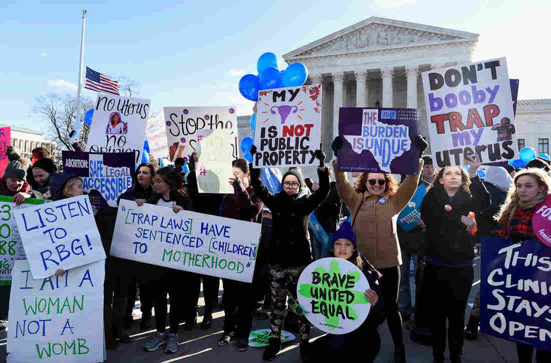 Supporters of abortion rights rallied Wednesday outside the U.S. Supreme Court, where justices heard arguments about a Texas law that imposed health and safety requirements on clinics in the state.