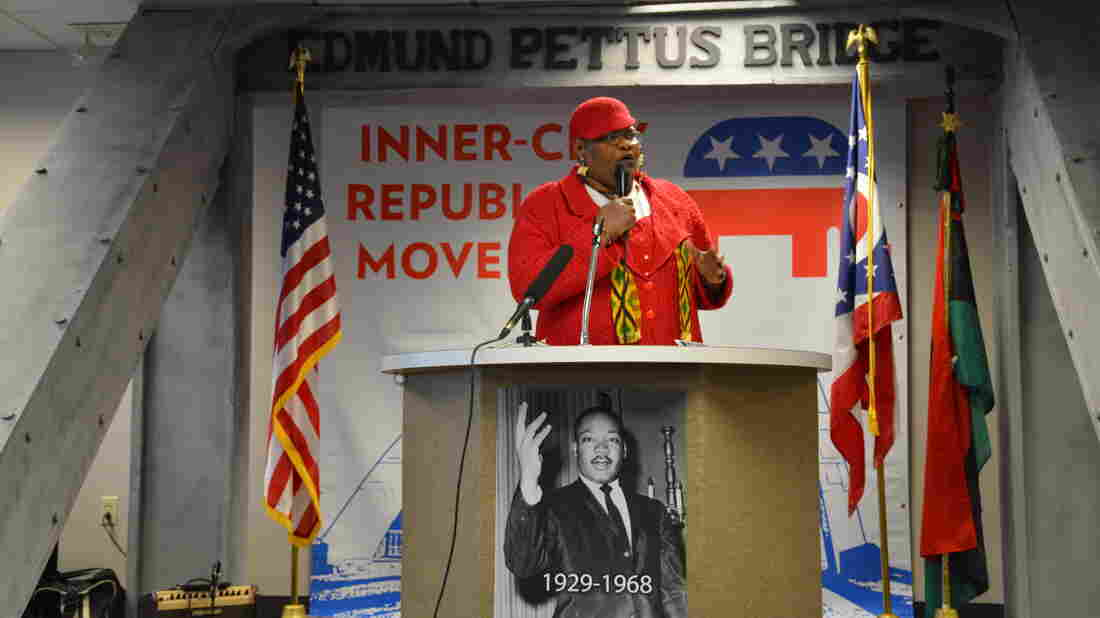 Activist Donna Walker-Brown speaks at an event for black voters sponsored by the Republican Party in Cleveland in January.