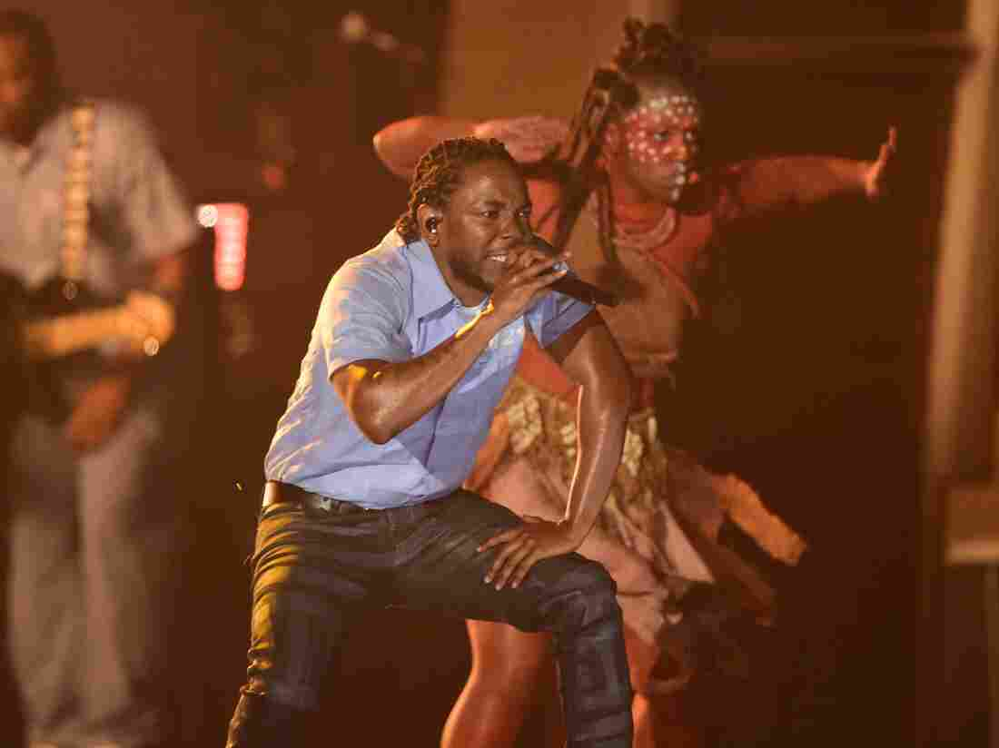 Kendrick Lamar performs at the Grammy Awards in Los Angeles in February 2016.