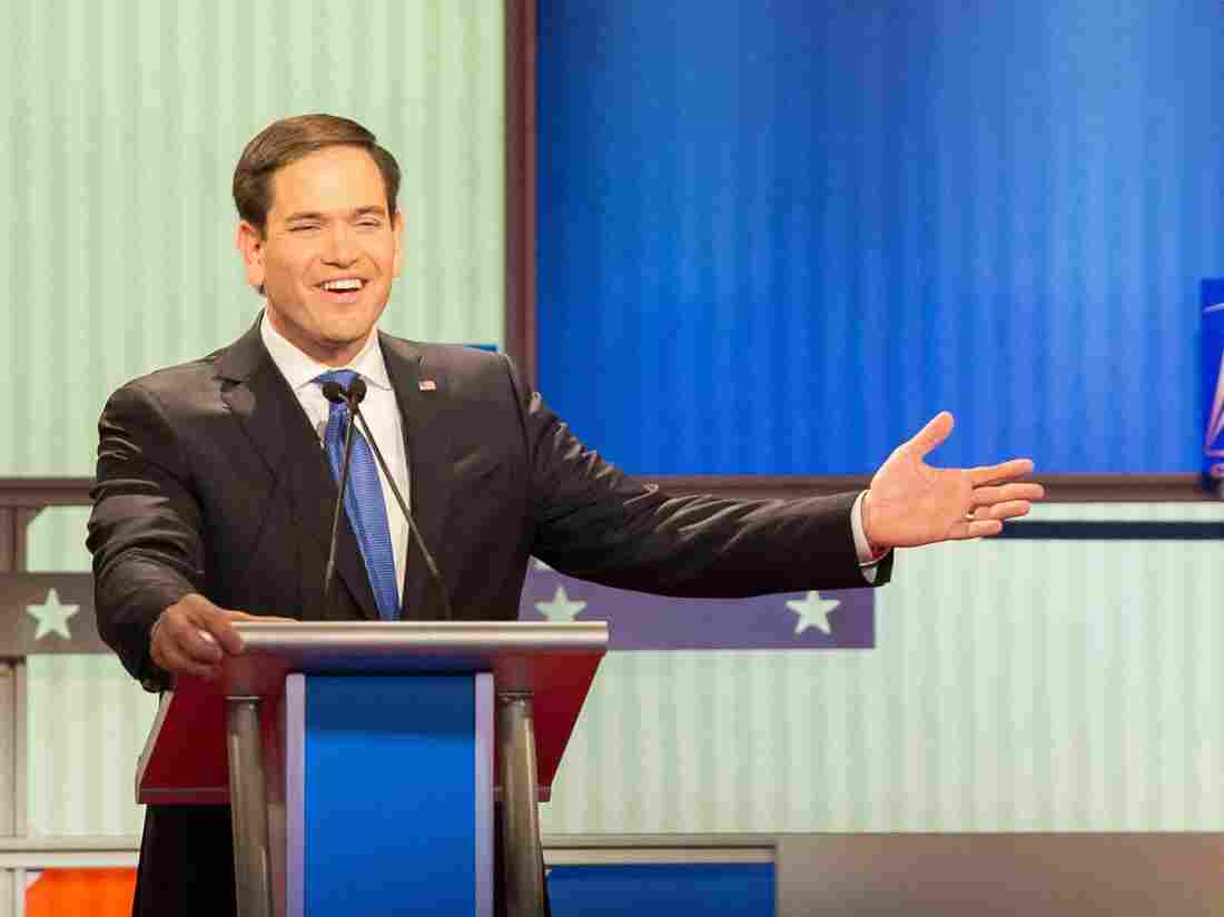 Marco Rubio and Donald Trump participate in the Republican Presidential Debate in Detroit, Michigan.