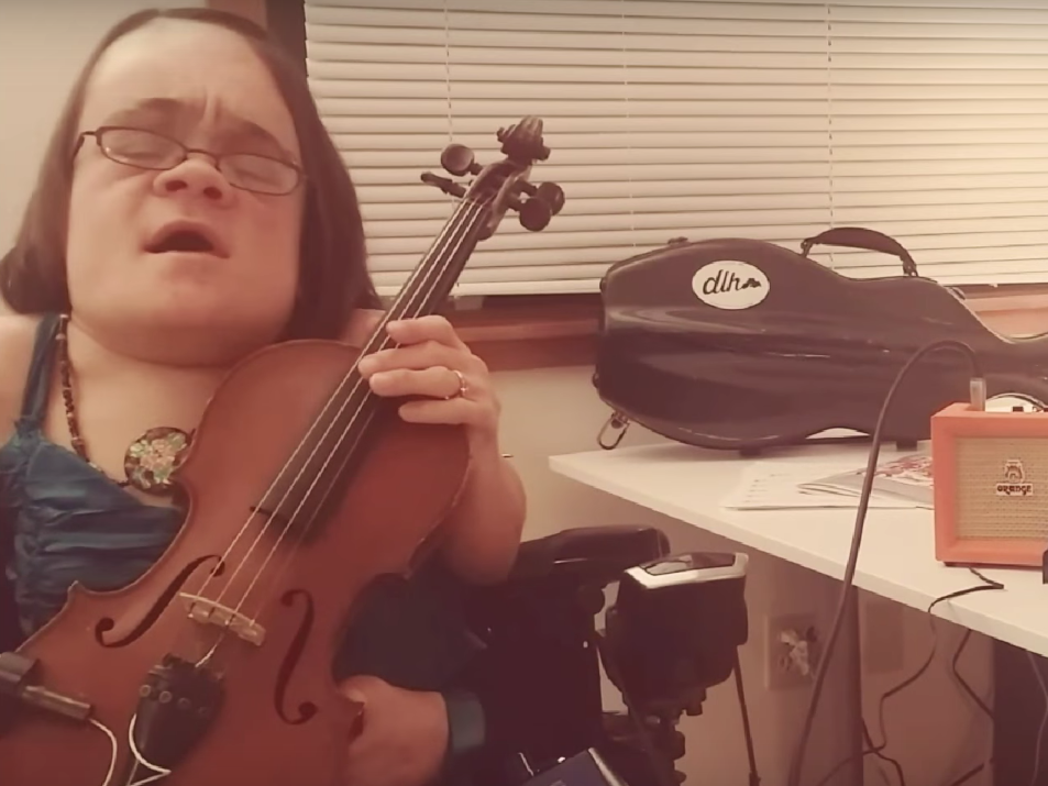 Singer and violinist Gaelynn Lea performing in her winning video for this year's Tiny Desk Contest.