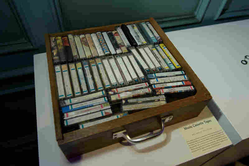Cassettes on display at a recent pop-event for The Museum Of Broken Relationships.
