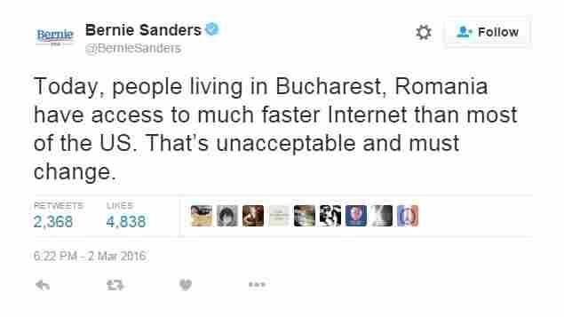 Bernie Sanders Ticks Off Romanians On Twitter Over Internet Speed Tweet