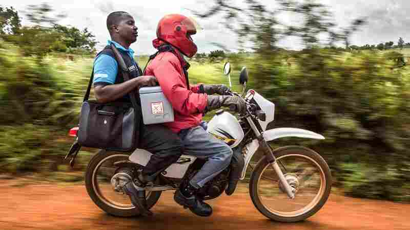 A pneumococcal vaccine is delivered via motorcycle in Kenya.