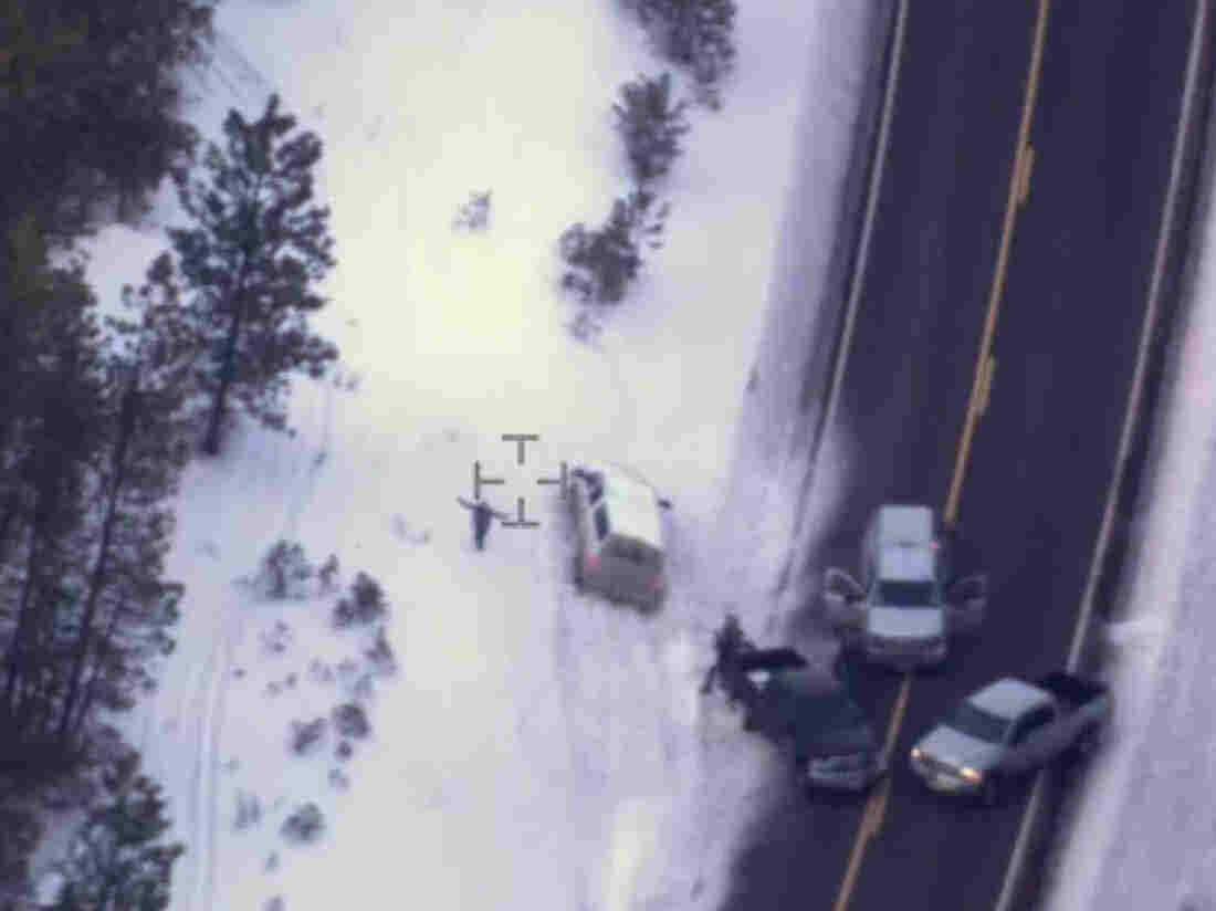 """This photo taken from an FBI video shows Robert """"LaVoy"""" Finicum during a confrontation with police on Jan. 26. On Tuesday, authorities said police were justified in killing Finicum."""