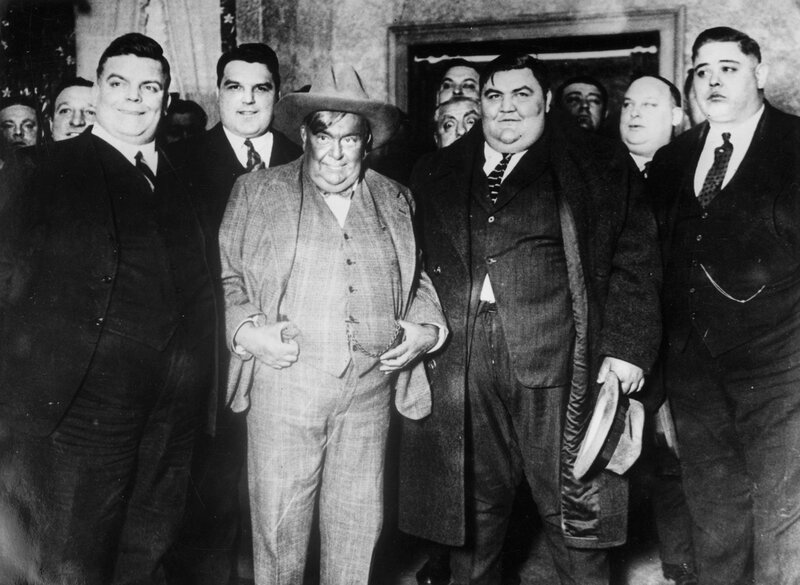 Members of the Fat Men's Club of New York gather at a meeting, circa 1930.