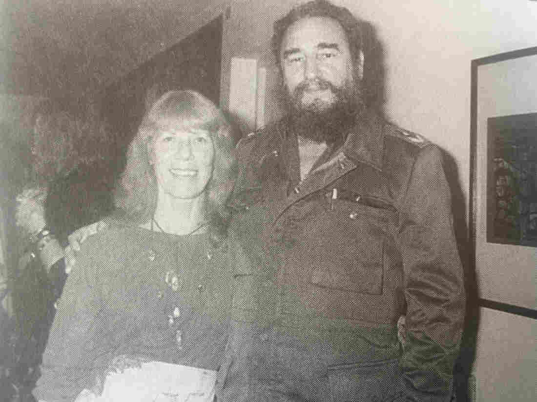 Lorna Burdsall with Fidel Castro in Havana, 1983.