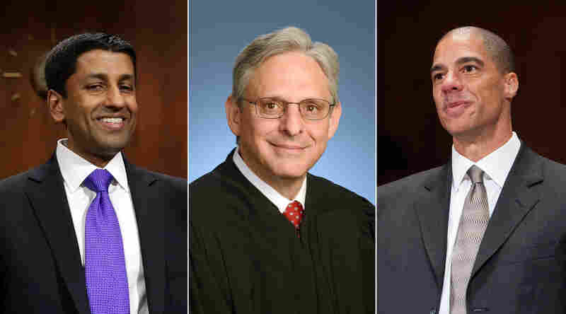 (From left) Judge Srinivasan, Judge Garland, and Judge Watford.