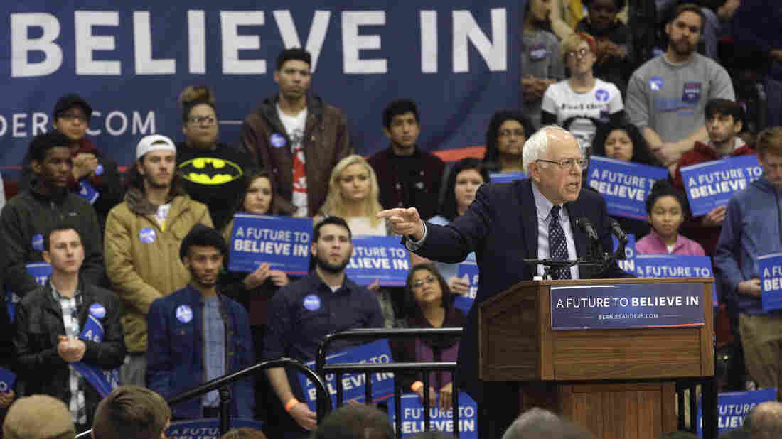 Democratic presidential candidate Sen. Bernie Sanders scored an upset win in Michigan on Tuesday. He's seen here speaking last week in Illinois, which holds its primary next Tuesday.