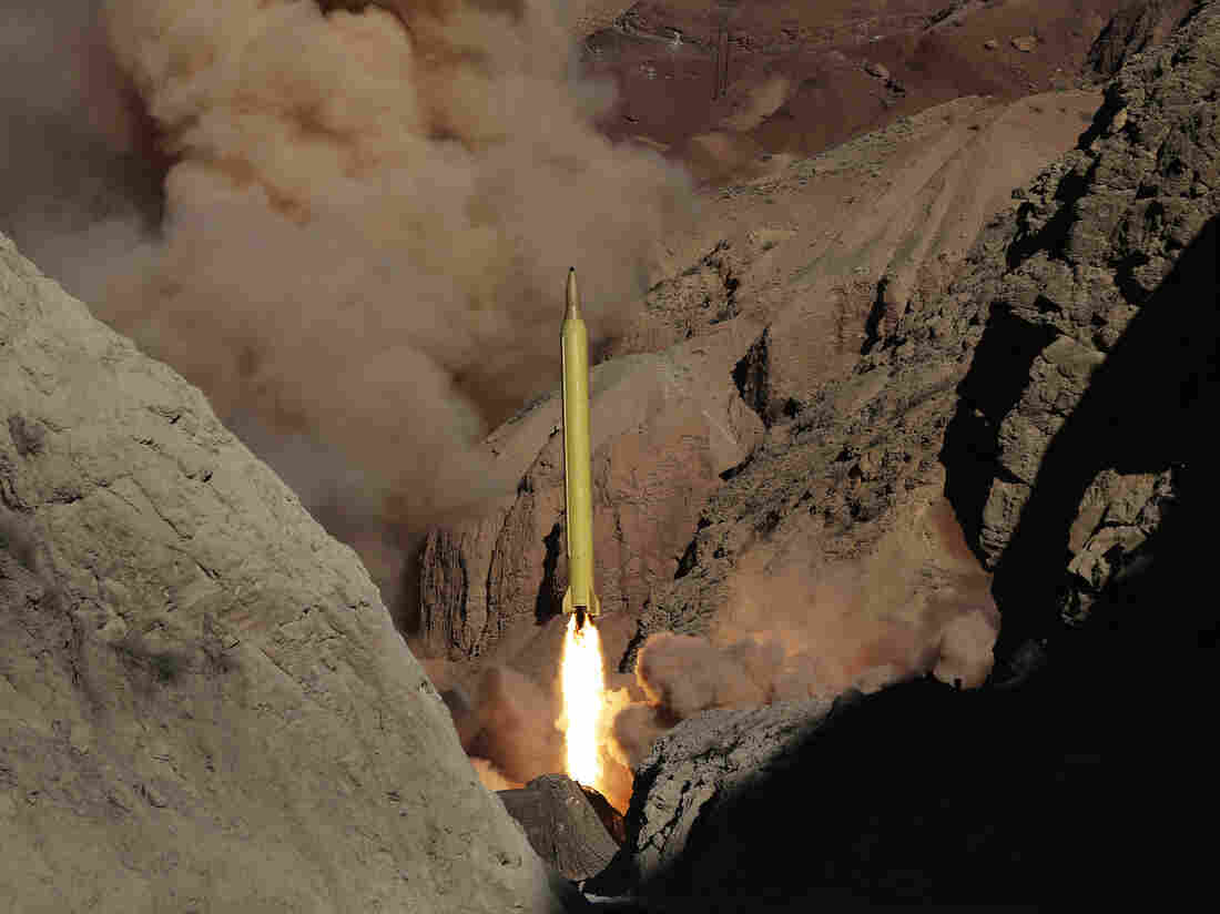 A ballistic surface-to-surface missile is fired by Iran's Revolutionary Guard, during a maneuver, in an undisclosed location in Iran on Wednesday.