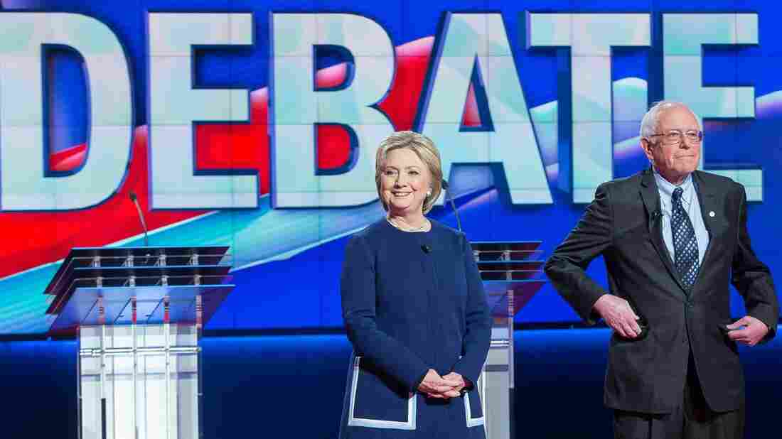 Democratic presidential candidates Hillary Clinton and Bernie Sanders at Sunday's debate. They meet again tonight in Miami.