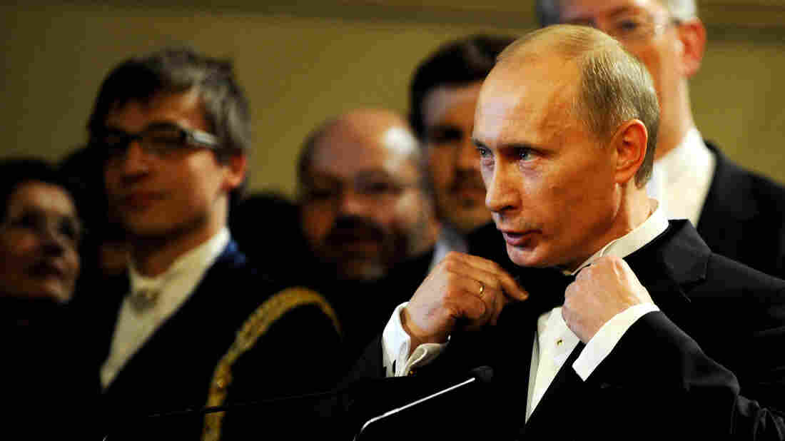 Russia's Vladimir Putin makes a speech in 2009 after receiving an award in Dresden, Germany, where he served as a KGB officer during the Cold War.