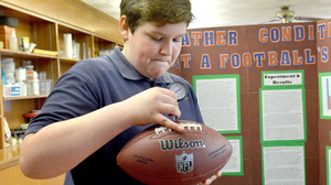 Ben Goodell, a seventh-grader in Lynn, Mass., created a science fair project measuring how weather conditions such as humidity, snow, wind chill, cold and ice affected the PSI of footballs.
